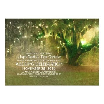 String of Lights Old Tree Rustic Wedding Invites