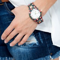 Allover Floral Printed Watch