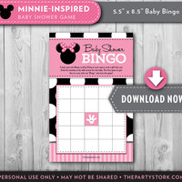 Girl Baby Shower Games, Minnie Mouse Bingo Card, Printable Shower Game, Girl, Party decorations and invitation available INSTANT DOWNLOAD