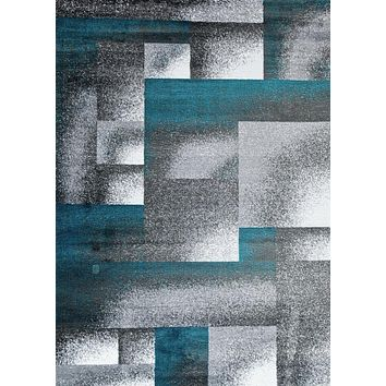 2036 Turquoise Contemporary Area Rugs