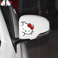 Car Sticker 2PCS/Lot Lovely Hello Kitty Smile Car Rearview Mirror Sticker Adorable Styling Car Accessories Vinyl Decals