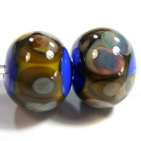 Cobalt Blue Handmade Lampwork Glass Beads Yellow Band Raku Dots Shiny