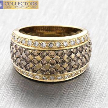 Lovely Ladies LeVian 14K Yellow Gold 1.50ctw Chocolate Diamond Dome Ring