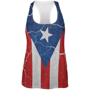 DCCKU3R Distressed Puerto Rican Flag All Over Womens Work Out Tank Top