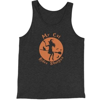My Cat Rides Shotgun Witch on Broom  Jersey Tank Top for Men