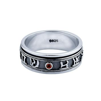 Luxury Rotatable Sterling Silver 925 Mantra Red Garnet Ring Size 7-12.5