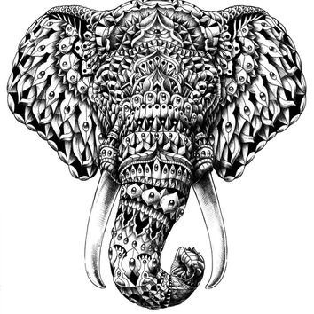 Ornate Elephant Head Art Print by BIOWORKZ