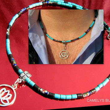 Men surfer NECKLACE, Gems Turquoise, Onyx, Hematite, Cloisonne tibetan beads, Pendant silver LOTUS.Mala boho unisex necklace.Gift for him