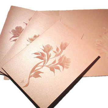 Note Cards Hand Painted Soft Pink Roses with by HandPaintedPetals