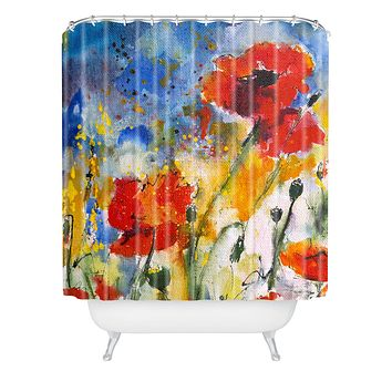 Ginette Fine Art Wildflowers Poppies 2 Shower Curtain