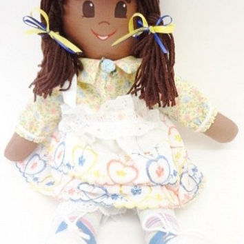 ethnic rag doll brown hair brown eyes brown skin blue hat print dress embroidered apron NF196