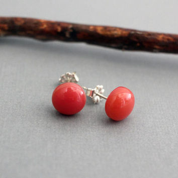 Glass Stud Earrings - Coral Pink Earrings - Everyday Studs Silver - Round Stud Earrings - Sterling Silver Earrings Studs - Salmon Pink Studs