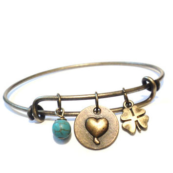 Heart Bangle Bracelet Yoga Jewellery Turquoise Clover Good luck Love Charm Boho Adjustable Gift For Her Christmas Stocking Stuffer
