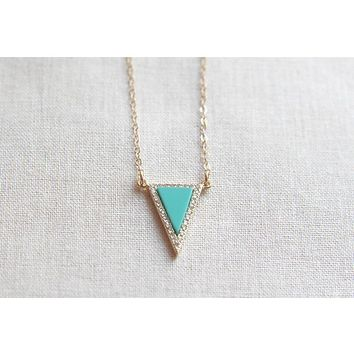 Triangle Necklace Gold and Turquoise