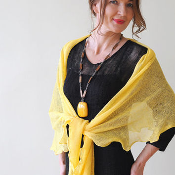 Yellow knitted linen shawl, Handmade from Natural Eco-friendly Linen