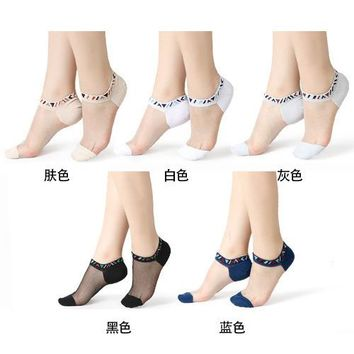 Sexy Lace Mesh silk Fishnet Socks Fiber Transparent Stretch Elasticity Ankle Net Yarn Thin Women Cool Socks 1pair=2pcs TMD02