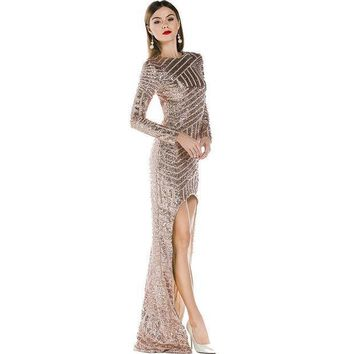 PEAPUNT Free Shipping Missord 2015 Sexy backless long sleeve irregular sequin maxi dress FT3211