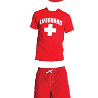 Men's lifeguard authentic combo pack t-shirt shorts and Mesh hat (Large)
