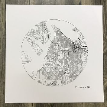Fircrest, Washington Map Print in Circle