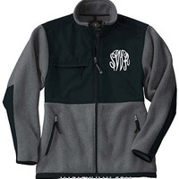 Monogrammed Unisex Fleece Coat- Charcoal and Black