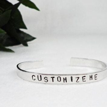 Custom Bracelet Cuff   Personalized Bracelet   Custom Cuff   Handstamped Cuff   Girlfriend Gift   Aluminum Cuff Adjustable Cuff Mother Gift