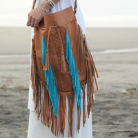 ON SALE, boho fringe leather bag, bohemian leather purse