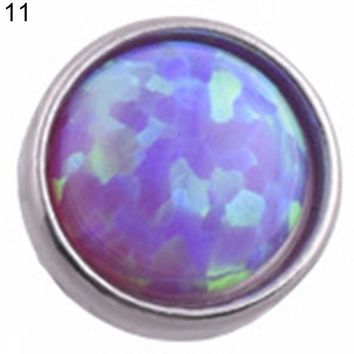 ac DCCKO2Q Opal Stone Skin Driver Dermal Anchor Stainless Steel Body Piercing Jewelry