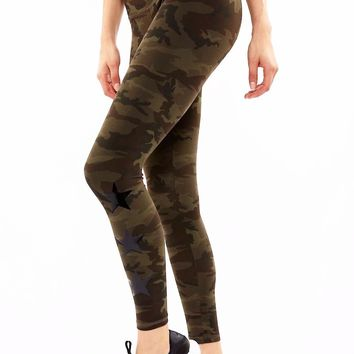 The Star Legging - Green Camo/Black Star