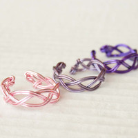 Lavender Adjustable Braided Ring, Pink, Purple, Wire Wrap Ring