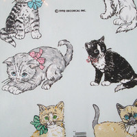 Vintage 1992 Handpainted Cat Kitttens Decoral Water Transfer Decals