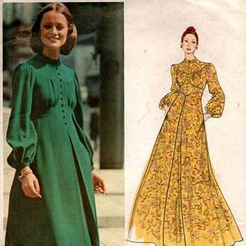 Vogue 2756 Designer Sewing Pattern 1970s Jean Muir Boho Hippie Style Maxi Dress Long Blouson Sleeves High Neck Shaped Bodice Uncut Bust 32
