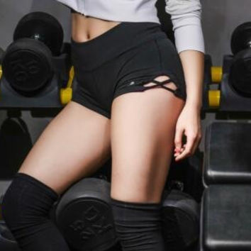 Sports Yoga Hollow Out Shorts [10269375623]