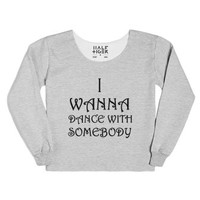 I Wanna Dance With Somebody (sweatshirt)-Heather Grey T-Shirt