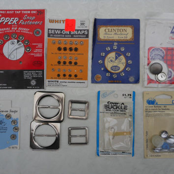 Vintage Fasteners Lot Snaps Button Buckle Dritz Prims EZ White Grants Scovil Clinton Gripper Sewing Crafts Supplies Closures Mid Century