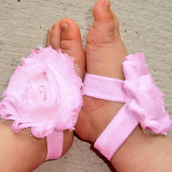 Baby Barefoot Sandals - Pink Piggy Petals - Toe Blooms - Photo Props - Baby Shoes - Toddler Shoes - Newborn Shoes