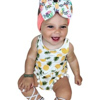Summer 2017 Newborn Toddler Baby Girls Romper with Pineapple Tassel Infant Baby Jumpusit Wasit One-Pieces Sunsuit Kids Clothes
