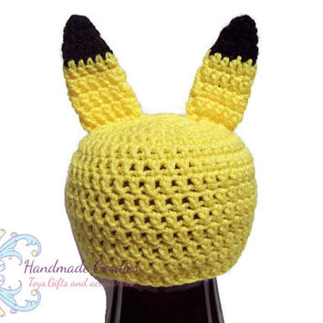 Crochet Pikachu Hat with ears for baby/ Photo prop