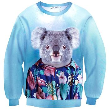 Koala Bear Dressed up in a Aloha Hawaiian Shirt Animal Portrait Print Sweater