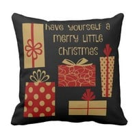 Have yourself a merry little Christmas, red & gold Throw Pillow