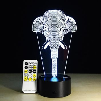 LED 3D elephant Night Light