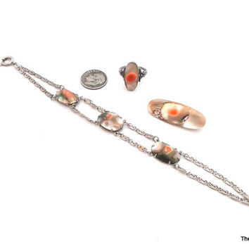 Vintage blister pearl collection - sterling ring, brooch and bracelet