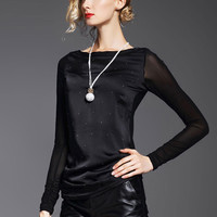 Mesh Stitching Off Shoulder Long-Sleeved T-Shirt