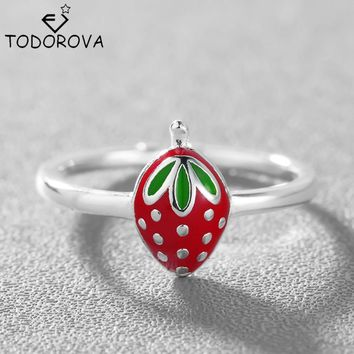 Todorova 925 Sterling Silver Jewelry Charm Cute Lovely Fruit Strawberry Wedding Rings Daughter Mother Birthday Gift My Orders