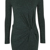 Knot Front Mini Dress - Forest