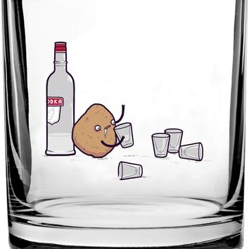 Vodka Potato Randy Otter Funny Humor - 3D Color Printed Scotch Whiskey Glass 10.5 oz
