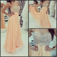 Champagne Prom Dress 2015 Beaded Sapghetti Strap Chiffon Long Party Evening Gown
