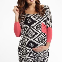 Pink Colorblock Sleeve Tribal Print Maternity Top