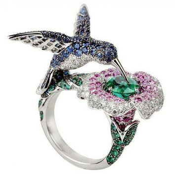 Fashion Women's  Silver Plated Crystal Rhinestones Bird Flower Ring Wedding Engagement Jewelry Gift #267974