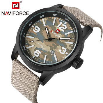 Luxury Sport Men Brand Watches Army Military Style Quartz Analog Clock NAVIFORCE Fabric Strap Wristwatches Date Waterproof LX57