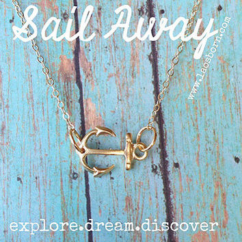 Anchor Necklace, Sideways Anchor, Gold, Sail Away, Nautical, Everyday, Gift, Anchor Charm Necklace